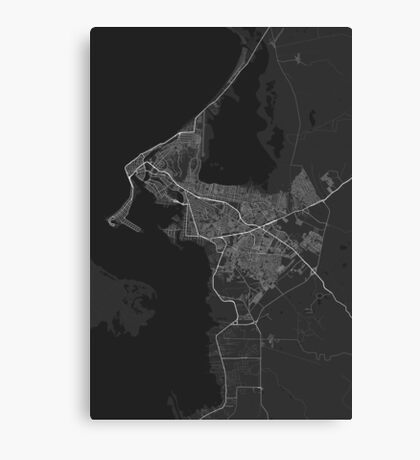Cartagena, Colombia Map. (White on black) Canvas Print
