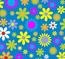 Tropical Flowers and Petals - Pink Green Blue Yellow by sitnica
