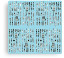 30 Potted Plants Design in Turquoise Canvas Print