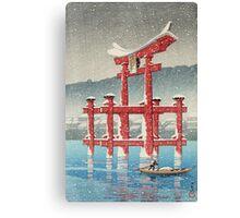 Kawase Hasui - Miyajima In Snow (Miyajima, Setchu) Canvas Print