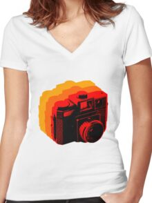 Holga Square T-Shirt Women's Fitted V-Neck T-Shirt