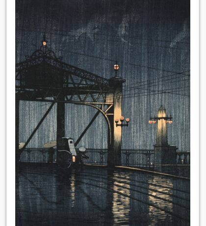 Kawase Hasui - Night Rain On Shin-O-Hashi Sticker