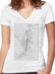 Medellin, Colombia Map. (Black on white) Women's Fitted V-Neck T-Shirt