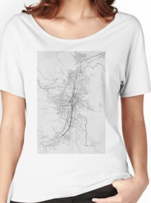 Medellin, Colombia Map. (Black on white) Women's Relaxed Fit T-Shirt