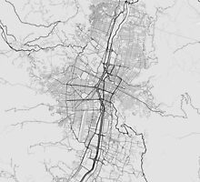 Medellin, Colombia Map. (Black on white) by Graphical-Maps