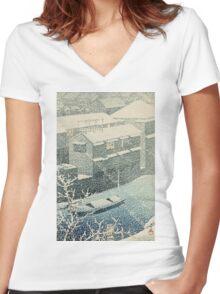 Kawase Hasui - Ochanomizu In Snow (Ochanomizu) Women's Fitted V-Neck T-Shirt