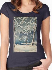 Kawase Hasui - Senzoku Pond In Snow Women's Fitted Scoop T-Shirt