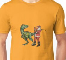 Santa vs a Velociraptor  Unisex T-Shirt