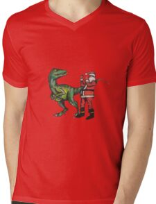 Santa vs a Velociraptor  Mens V-Neck T-Shirt