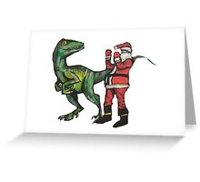 Santa vs a Velociraptor  Greeting Card
