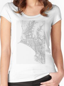 Lima, Peru Map. (Black on white) Women's Fitted Scoop T-Shirt
