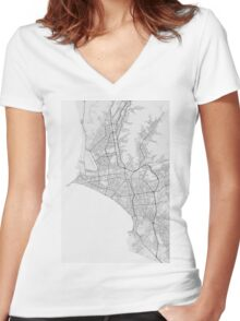 Lima, Peru Map. (Black on white) Women's Fitted V-Neck T-Shirt