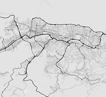 Caracas, Venezuela Map. (Black on white) by Graphical-Maps