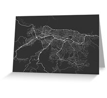 Caracas, Venezuela Map. (White on black) Greeting Card