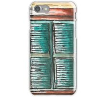 Weathered Turqoise Window Shutters iPhone Case/Skin