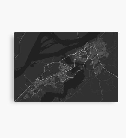 Ciudad Guayana, Venezuela Map. (White on black) Canvas Print