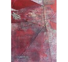 Through a Field of Wounded Hearts - Mixed-Media Abstract Painting, Raw Red Photographic Print