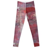 Through a Field of Wounded Hearts - Mixed-Media Abstract Painting, Raw Red Leggings