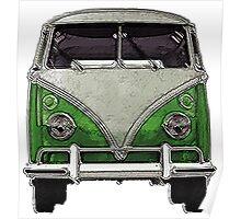 Green Split window bus Poster