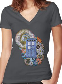Mosaic TARDIS with Clock Women's Fitted V-Neck T-Shirt