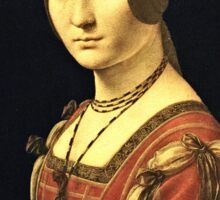 Leonardo Da Vinci - Portrait Of A Lady From The Court Of Milan 1495  Sticker