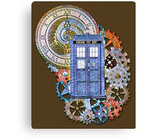 Mosaic TARDIS with Clock Canvas Print