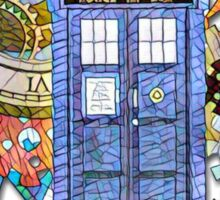 Mosaic TARDIS with Clock Sticker