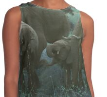 Elephants Drinking in Turquoise Contrast Tank