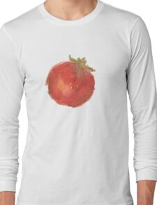 Red Watercolor Tomato Long Sleeve T-Shirt