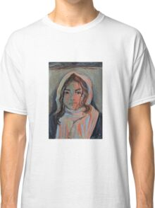 Scarved girl croquis portrait Classic T-Shirt
