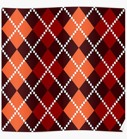 Retro colorful colorful argile pattern - orange and red Poster