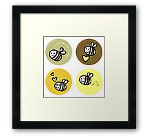 Vector set of happy bee characters Framed Print