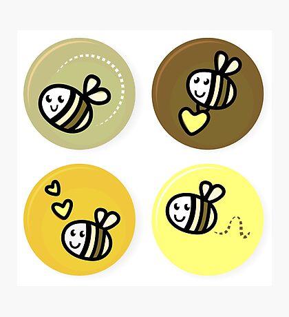 Vector set of happy bee characters Photographic Print
