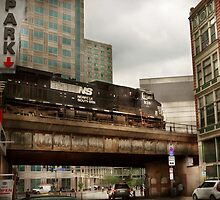 Train - Pittsburg Pa - The industrial city by Mike  Savad