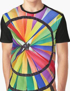 Graphic Rainbow Pinwheel Spinner Detail Graphic T-Shirt