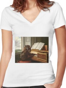 Philip Reinagle - Portrait Of An Extraordinary Musical Dog  Women's Fitted V-Neck T-Shirt