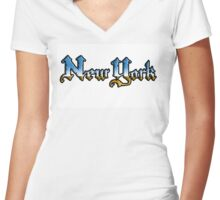 New York chrome style Women's Fitted V-Neck T-Shirt