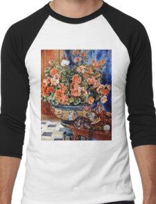 Pierre-Auguste Renoir - Geraniums And Cats  Men's Baseball ¾ T-Shirt
