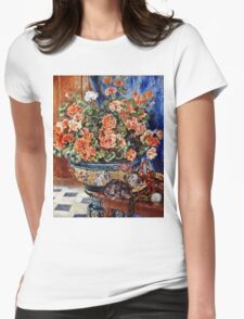 Pierre-Auguste Renoir - Geraniums And Cats  Womens Fitted T-Shirt
