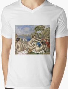 Renoir Auguste - Bathers Playing With A Crab  Mens V-Neck T-Shirt