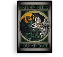 Knight and Dragon WWI Canvas Print