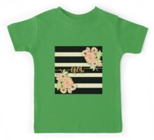 Stripes,beige,black,Grow,gold,text,typography,water color,hand painted, flowers,peonies Kids Tee