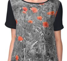 Red Poppies Chiffon Top