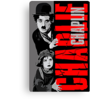 Charlie Chaplin with the kid sneak a peek Canvas Print