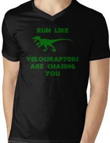 Run Like Velociraptors Are Chasing You Mens V-Neck T-Shirt
