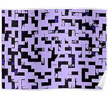 Line Art - The Bricks, tetris style, purple and black Poster