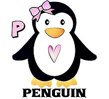 P is for Penguin Photographic Print