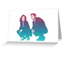 Mulder and Scully squatting!!!! Greeting Card