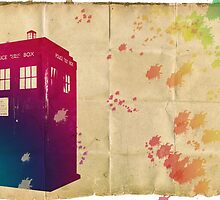 The Tardis in watercolours ... ALLONS-Y ! by lloydj3