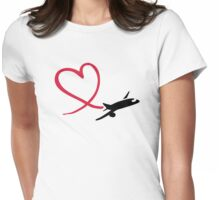 Airplane heart love Womens Fitted T-Shirt